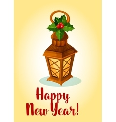 Happy New Year Lamp cande lantern with holly bow vector