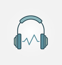 headphone with sound wave symbol or icon vector image