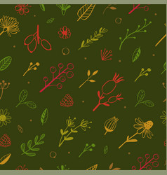 herbal and floral doodle seamless pattern 3 vector image