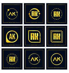 Initial letter ak logo set design vector