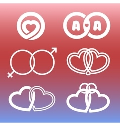Isolated outlined hearts and rings logo set vector