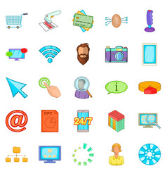 It support icons set cartoon style vector