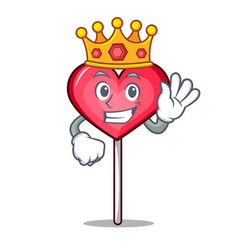 King heart lollipop mascot cartoon vector