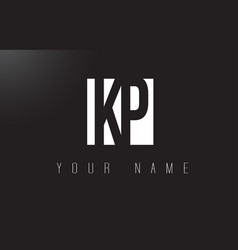 kp letter logo with black and white negative vector image