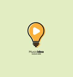 Light bulb music logo design template vector