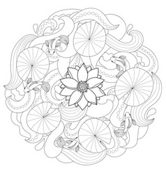 lotus and fishes coloring page vector image