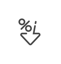 Low percent interest percent down icon in linear vector