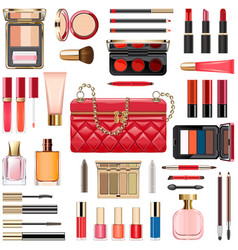 Makeup cosmetics with red handbag vector