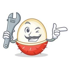 Mechanic rambutan mascot cartoon style vector