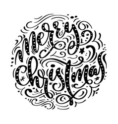 Merry christmas black handwritten text hand drawn vector