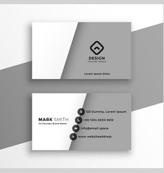 minimal style white and gray business card design vector image
