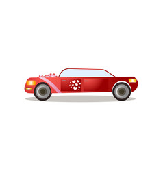 modern red color limousine with red ribbons and vector image