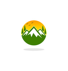 mountain and sun rise logo vector image