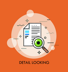 paper document magnifying glass and human eye vector image