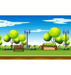 Park scene with trees and benches vector