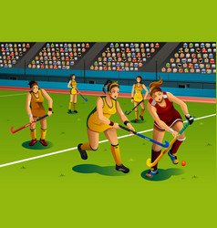 People playing field hockey in the competition vector