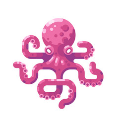 pink octopus icon vector image