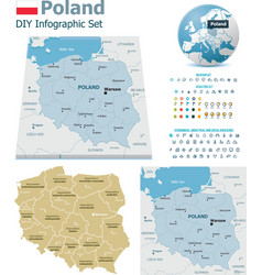 Poland maps with markers vector