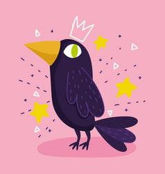 raven bird animal stars drawing cartoon vector image