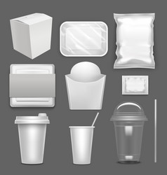 realistic detailed 3d white blank fast food vector image
