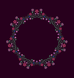 Round frame made of floral elements mandala border vector