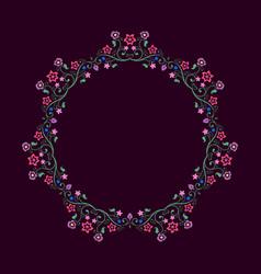 round frame made of floral elements mandala border vector image