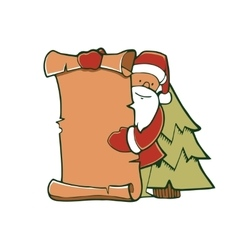 Santa pointng to the blank vector image
