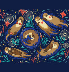 Seamless pattern with cute lovely otters in vector