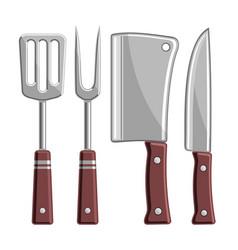 set bbq tools vector image