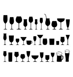 set black wine alcohol glasses silhouettes vector image