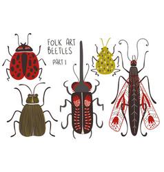 set folk art decorated beetles vector image