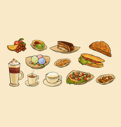 Set food for cafe menu vector