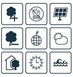 Set of 9 eco-friendly icons includes world vector