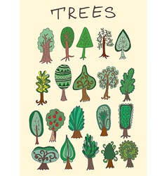 Set of hand-drawn doodle forest tree vector image
