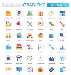 set of trendy flat gradient wedding icons vector image