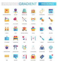 set of trendy flat gradient wedding icons vector image
