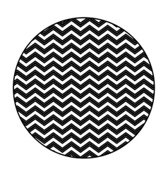 Silhouette circular figure with pattern zig zag vector