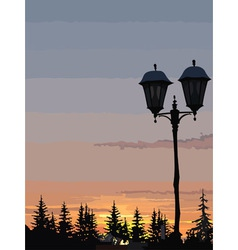 silhouette of street lights and trees at sunset vector image vector image