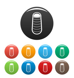 sleep bag icons set color vector image