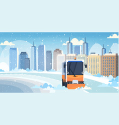 Snow plow truck cleaning city road afrer snowfall vector