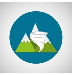 Snowy mountains tornado weather concept design vector