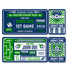 soccer ticket for football championship match vector image