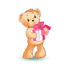 Soft toy bear holds gift box with pink bow on it vector
