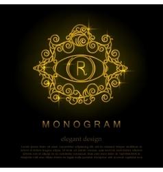 Stylish elegant monogram mono line art design vector image