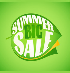 summer sale lettering design template on leaf vector image