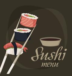 sushi rolls sashimi seafood fish rice japanese vector image