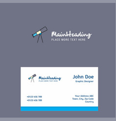 Telescope logo design with business card template vector