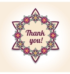 thank you floral card in template vector image