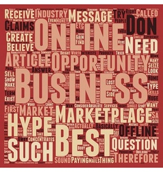 The Best Business Online text background wordcloud vector