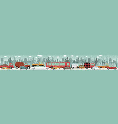 traffic jam - winter vector image